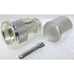 1-PL259-600 UHF Male Crimp Type Connector, Silver/PTFE LMR600