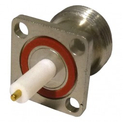 RFPNF-TEF Connector, Type-N Female Panel Mount, Mini 4 hole flange w/Post Terminal/PTFE ext. .500, RFP