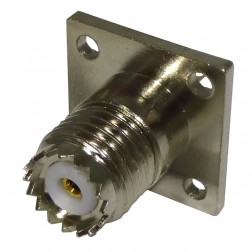 RFU603 Mini-UHF Female Chassis Mount Connector, 4 hole panel, Solder Cup, RF Industries