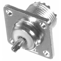 SO239  UHF Female 4 Hole Chassis Connector, Solder Cup, Silver / PTFE, Amphenol (Old Version)