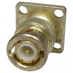 UG1104A/U  Connector, BNC Male Chassis - 4 Hole Panel Flange Mount w/Solder Cup, Winchester