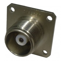 UG496/U  HN Female 4 Hole Chassis Connector, W/Extended PTFE to Solder Cup, Radiall