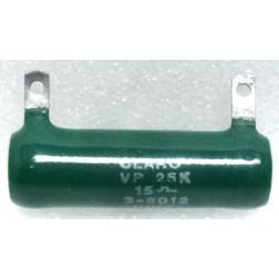 VP25K-15 Wirewound Resistor, 15 ohms 25 watts, Clarostat