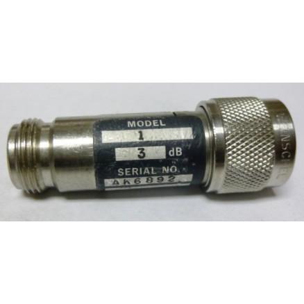 1-3 Attenuator, Type-N Male/Female, 3dB, 5 Watt, Weinschel (Clean Used)
