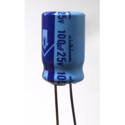 100-25R  Electrolytic Capacitor, 100 uf 25v, Radial Lead, Nichicon