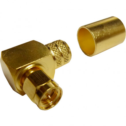 132299  SMA Male Crimp Connector, Right Angle, Cable Group I, Amphenol