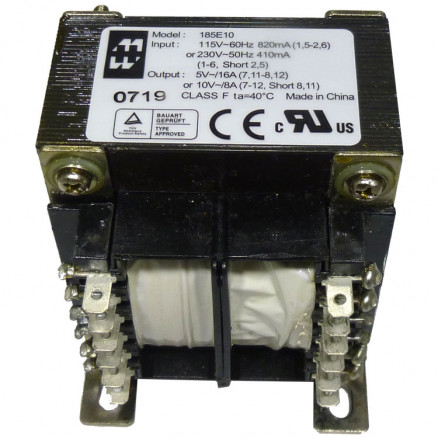 185E10 Transformer, Dual pri 115/230 vac 50/60hz, Hammond