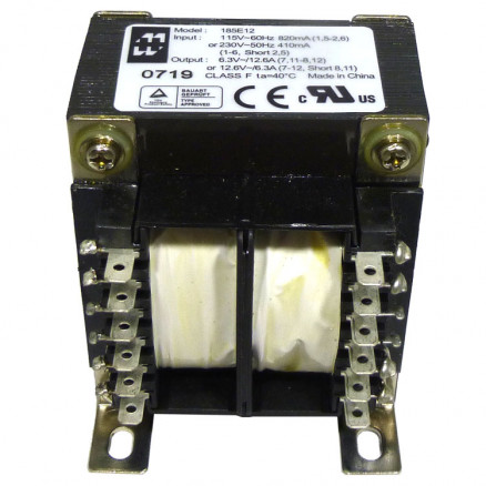 185E12 Transformer 12.6vct at 6.3a or 6.3vac at 12.6 amps, Hammond