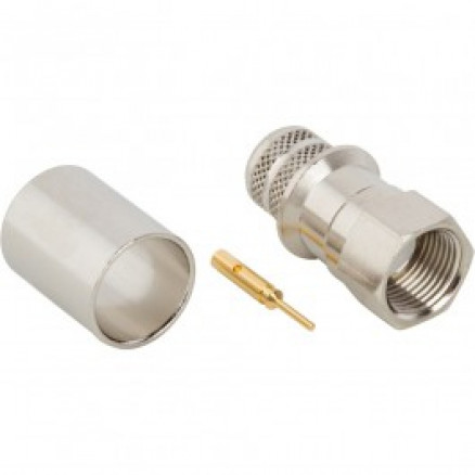 222175  F Male Crimp Connector, Cable Group 7E (RG11),  75 Ohm,  Amphenol