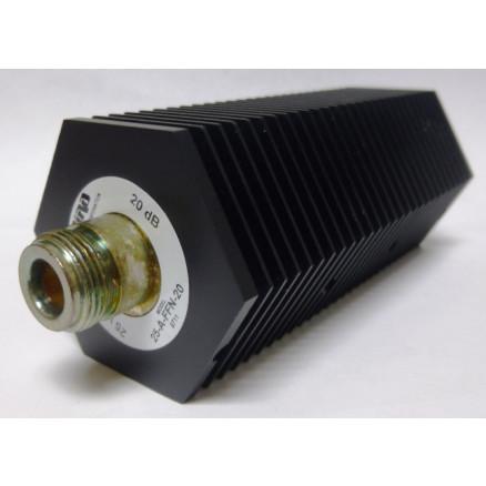 25-A-FFN-20-1  Attenuator, 25 Watt, 20 dB, Type-N Female to Female, Bird (Clean Used)