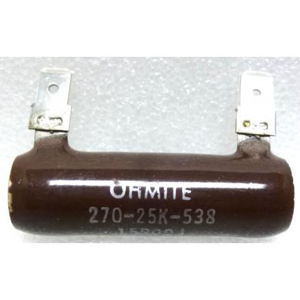 270-25K-538  Wirewound Resistor, 15 ohms 25 watts, Ohmite
