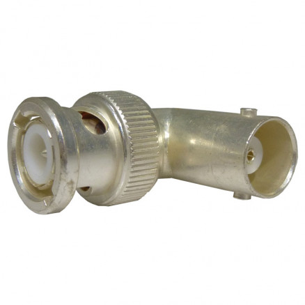 31-9-S BNC In-Series Adapter, Right Angle Male to Female, Silver (Industrial Grade), UG306/U, Amphenol