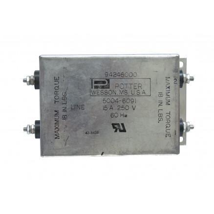 5004-6091 Filter, emi, 15a 250 vac max, Potter, usa