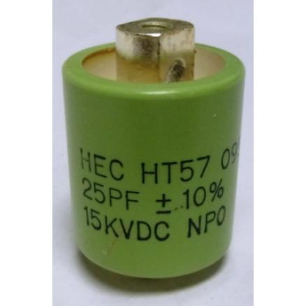 570025-15 Doorknob Capacitor, 25pf 15kv, New,  High Energy