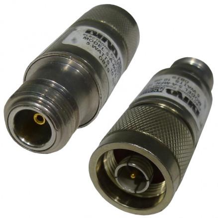 5AMFN-10-1 Fixed Attenuator, 5w 10dB, Type-N Male / Female, DC-2 GHz, Bird (Clean Used)
