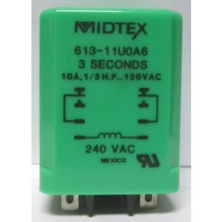 613-11U0A6  Time Delay Relay, 10a, 1/3 HP, 120vac, 3 seconds, Midtex