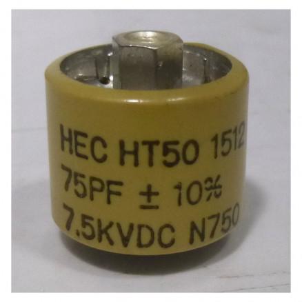 580075-7P  Doorknob Capacitor, 75pf 7.5kv 10%, Clean Pullout