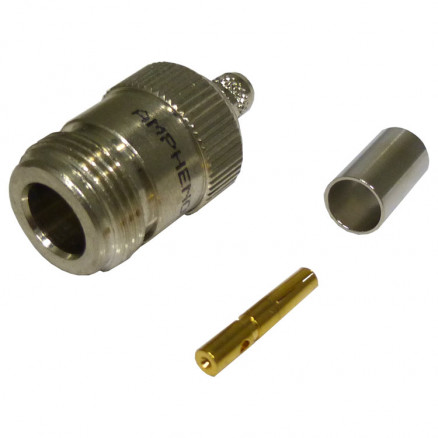 82-6092-RFX Type-N Female Crimp Connector, Straight, Cable Group: D, Amphenol