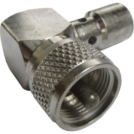 83-59  UHF Right Angle Male Solder Connector (PL259-Right Angle), Cable Group E, F, I, Amphenol