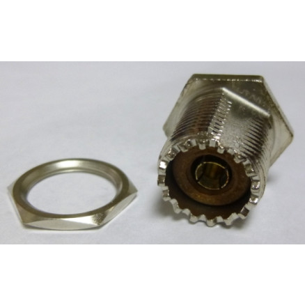 83-878 UHF Female Rear Mount Bulkhead Chassis Mount Connector, (SO239) w/Solder Cup, Amphenol