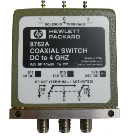 8762A Coaxial Switch, DC to 4 GHz, SMA, Hewlett Packard
