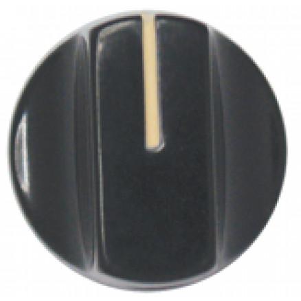 KNOB1L Tuning knob black .74 x .56, Slotted w/ white pointer