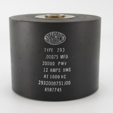 293200B751J00, Capacitance .00075mfd, Voltage 20kv, Amps 12, Type 293(NOS)