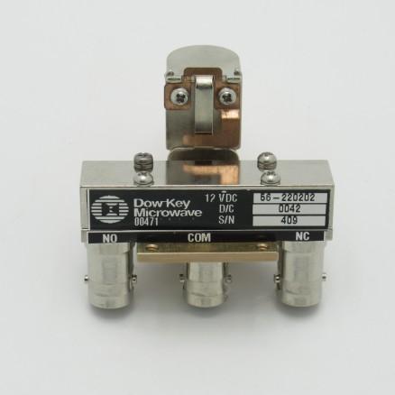 56-220202 DowKey Coax Relay, SPDT 12v, 150w CW, BNC Female (3 Connectors) (NOS)