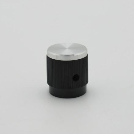 KNOB1B Tuning knob, Black w/Chrome Cap .7 x .785, TRD7021 Raytheon (NOS)