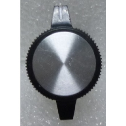 "KNOBATL1 Tuning knob,  black w/ Chrome cap - 2 wings & White arrow pointer, 1/4"" Shaft, Replacement for Atlas Radios"