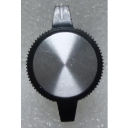 "KNOBATL1 Tuning knob,  black w/ Chrome cap - 2 wings & White arrow pointer, 1/4"" Shaft, Replacement for Atlas Radios"