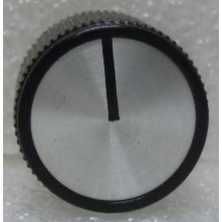"KNOBATL2 Tuning knob,  black w/ Chrome face & Black arrow pointer, 1/4"" Shaft, Atlas Replacement knob"
