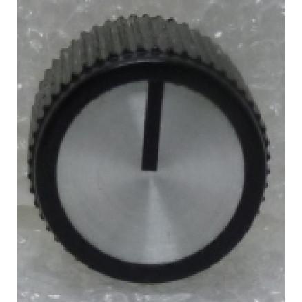 "KNOBATL3 Tuning knob,  black w/ Chrome face & Black arrow pointer, 3/16"" Shaft, Atlas Replacement knob"