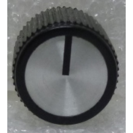 "KNOBATL4 Tuning knob,  black w/ Chrome face & Black arrow pointer, 1/8"" Shaft, Atlas Replacement knob"