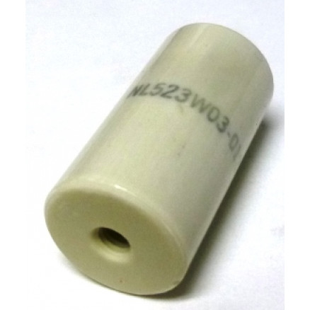 "NL523W03-012 Standoff Insulator, Glazed Ceramic, 1 1/2"" Long x 3/4"" Diameter with Threaded Mounting Holes"