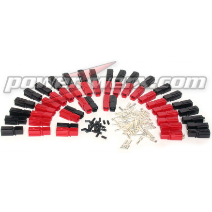 PP45-25  45 Amp Unassembled Red/Black Anderson Powerpole (25 sets)