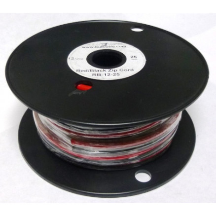 RB12-25  RED/BLACK 2 Conductor  Hook Up Wire, 25 foot, 12 awg, Stranded