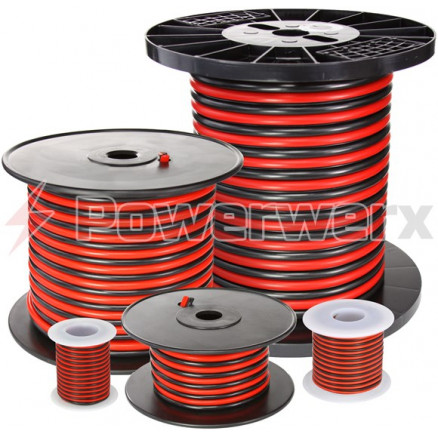 RB10-100  - RED/BLACK 2 Conductor  Hook Up Wire, 100 foot, 10 awg, Stranded