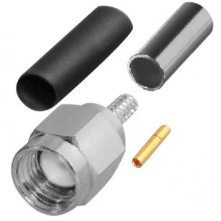 RP3000-B Connector, SMA Reverse Polarity Male Crimp,  Cable Group B. RG316, RG174.  RF Industries