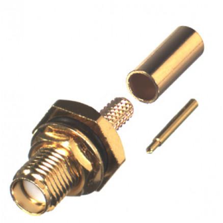 RP3252-1B Connector, SMA Reverse Polarity, Female Bulkhead Crimp, Cable Group B. RG316, RG174. RF Industries