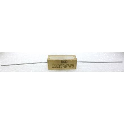 RSQ5-15-R Cement Wirewound Resistor, 15 ohm 5 watt, 5%, RCD