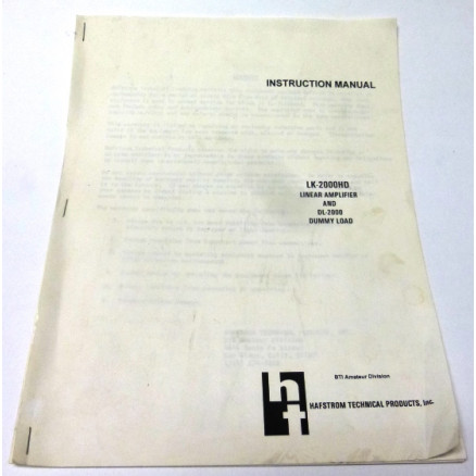 SMHLK2000  Instruction Manual for LK-2000HD Linear Amplifier