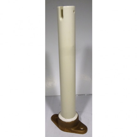 SOI-10 Standoff Insulator, High Voltage, 10 inch Glazed Ceramic with Flange Mounting Plate. Slotted top 5970-518-3494