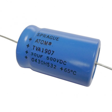 TVA1907 Capacitor, 30uf 500vdc, Sprague electrolytic axial