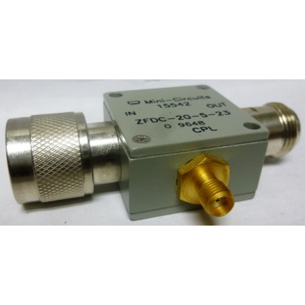 ZFDC-20-5-23 Directional Coupler, Wide Frequency Range, 0.1-2000 MHz, 50 ohm, 19.5dB, Type-N Male/Female (SMA Female) connectors, Mini-Circuits