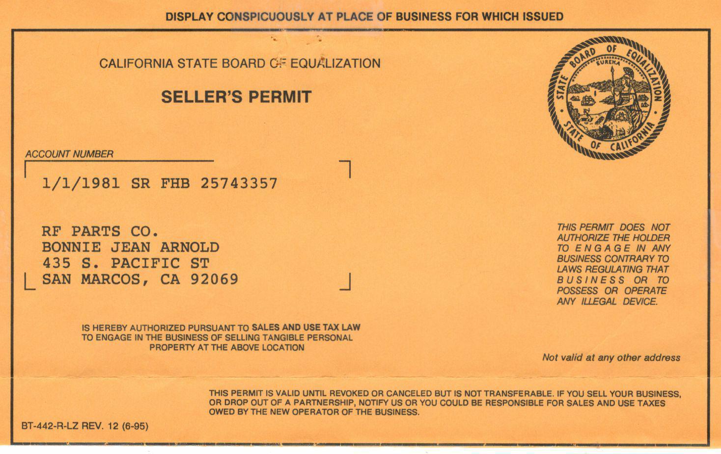 RF Parts - California Resale Certificate
